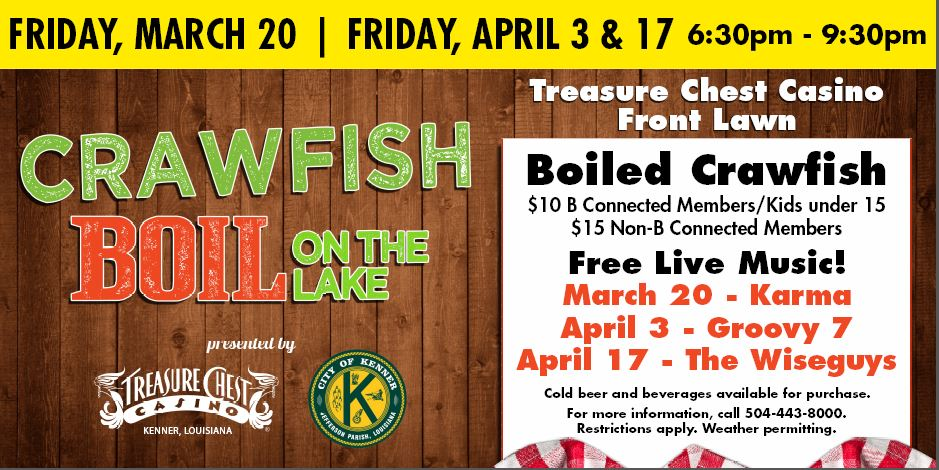 <p>Join us for three weekends of crawfish, free music and fun overlooking Lake Pontchartrain.</p>
