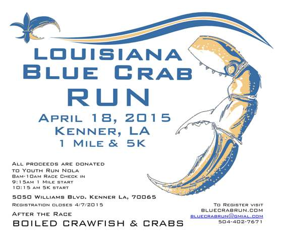 1 mile and 5K run on April 18, 2015 in Kenner! Proceeds donated to Youth Run Nola. Click here for more!
